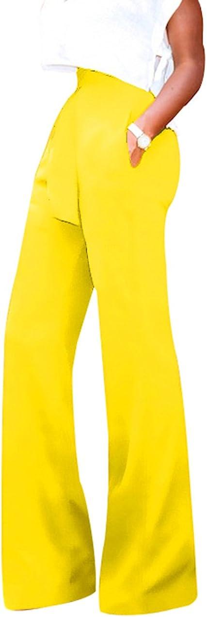 GUOLEZEEV Womens High Waisted Long Palazzo Pants Wide Leg Trousers with Waist Belt