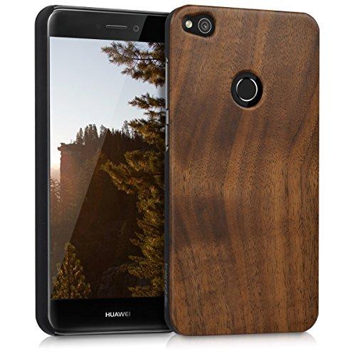 kwmobile Hülle kompatibel mit Huawei P8 Lite (2017) - Handy Schutzhülle aus Holz - Cover Handyhülle Dunkelbraun