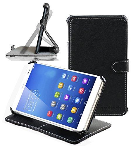 Navitech schwarzes Premium Leder Case/Cover/Hülle mit Standfunktion speziell für das Huawei MediaPad X1