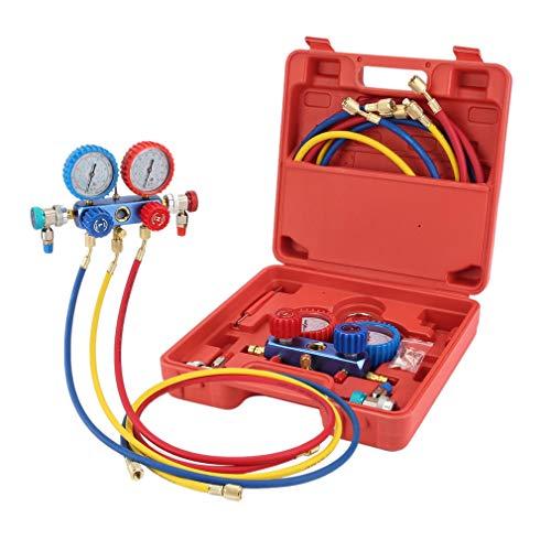 Kältemittel-Manifold-Messgerät Set für R134A,Manifold Gauge Set AC Klimaanlage Kältemittel Aufladeschlauch mit Messgerät & Haken