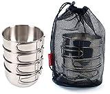 Utensilios de Cocina de Camping Pot, 4pcs 304 de Acero Inoxidable de 500 ml Copa, ollas de Camping Plegables for Senderismo de Picnic al Aire Libre, cáscara WKY