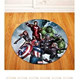 chengcheng The Avengers Marvel - Silla Redonda/Mesa Alfombrilla De Escritorio Alfombra Antideslizante Sala De Estar Área De Dormitorio Alfombra Alfombra Decorativa Diámetro 100 Cm