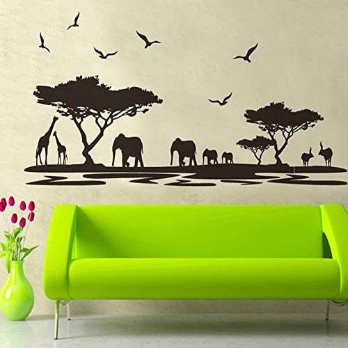 Muursticker 4U- Muursticker SAVANNE in zwart | Muurschildering 160x75 cm | Muursticker Safari Afrika Muursticker Dieren olifant giraffe boom | Deco voor woonkamer slaapkamer kinderkamer keuken hal GROSS
