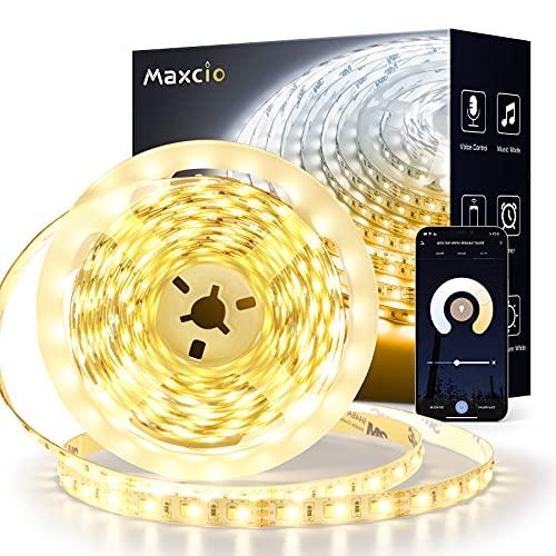 Striscia LED Wifi 5M Dimmerabile 3250lm, Maxcio Striscia LED Intelligente Compatibile con Alexa/Google Home, App/vocale Controllo, Striscia LED 2800K-7000K Bianco Caldo Freddo per Decorazione Interna