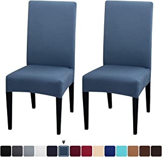JQinHome 2 Pcs Dining Chair Slipcover,High Stretch Removable Washable Chair Seat Protector Cover for Home Party Hotel Wedding Ceremony