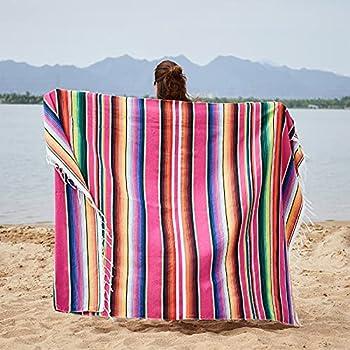 RSTYS Couverture mexicaine - Couverture de parc, couverture de plage, couverture de parc, couverture de yoga de qualité supérieure - Couverture de plage pour pique-nique, camping, voyage