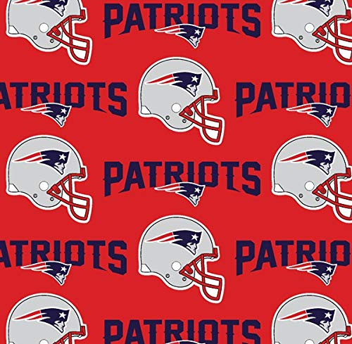 New England Patriots NFL Football in Red 58' Wide 100% Cotton Fabric by The Yard