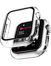 Le^K 2 Pack Case voor Apple Watch 40mm Serie 6 5 4 SE met Buit in Screen Protector Gehard Glas Rondom Harde PC Beschermende Hoge Definitie Clear Cover voor iWatch 40mm Serie 6 5 4 SE - Helder