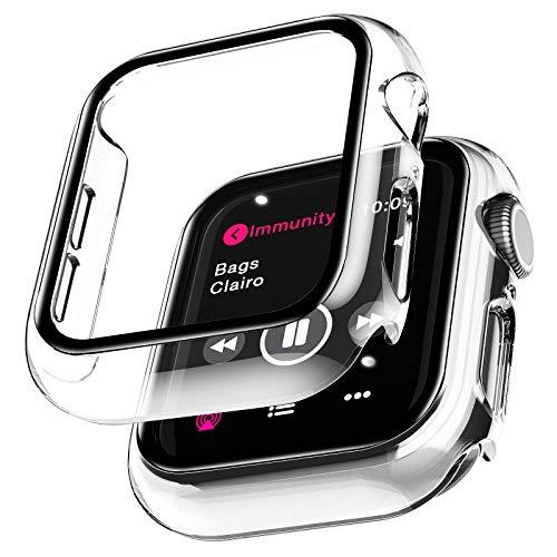 LϟK 2 Pezzi Custodia Cover + Protezione Schermo per Apple Watch Series 6/5/4/SE 40mm - Copertura Completa Custodia Rigida con Vetro Temperato per iwatch Series 6/5/4/SE 40mm - Trasparente