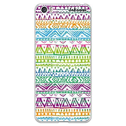 dakanna Funda Compatible con [Xiaomi Mi5 / Mi 5] de Silicona Flexible, Dibujo Diseño [Azteca Estilo Comic Multicolor], Color [Borde Transparente] Carcasa Case Cover de Gel TPU para Smartphone