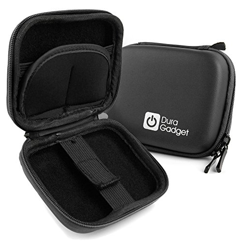 DURAGADGET Premium Quality Black Hard EVA Shell Case with Carabiner Clip & Twin Zips - Compatible with The MGCOOL Band 2 Heart Rate Monitor
