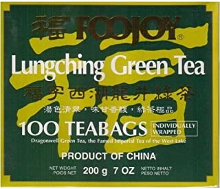 Foojoy Lungching (Dragonwell) Green Tea - 100 Individually Wrapped Tea Bags