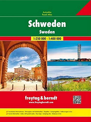 Schweden, Autoatlas 1:250.000 - 1:400.000 (freytag & berndt Autoatlanten)