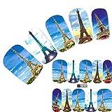 JUSTFOX - Tatuaje de la Torre Eiffel, París, pegatinas para uñas, uñas, pies, calcomanía.