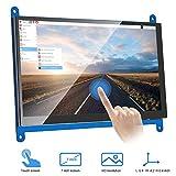 VANYE Pantalla Táctil Capacitiva Resolución LCD 1024 x 600 Monitor HDMI de 7 Pulgadas para Raspberry Pi 3 2 1 Modelo B B + A + BeagleBone Black Banana Pi/Pro