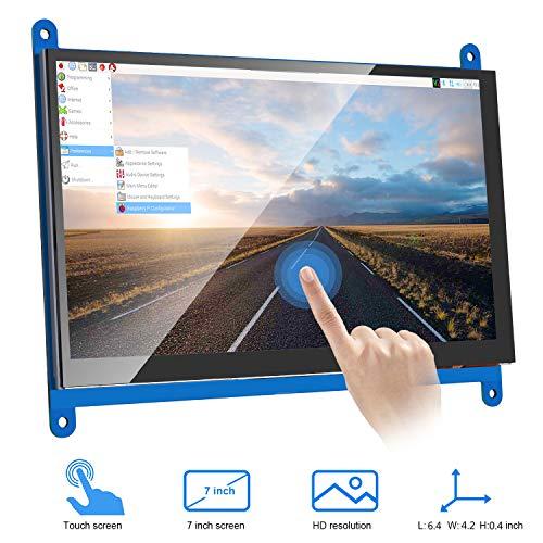 MAKEASY Écran raspberry pi Écran Tactile Capacitif LCD Résolution de 1024 x 600 Moniteur HDMI 7 Pouces Compatible Raspberry Pi 4 pour Raspberry Pi 3 2 1 Modèle B B+ A+ BeagleBone Black Banane Pi/Pro