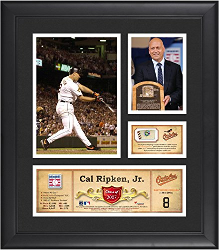 """Cal Ripken Jr. Baltimore Orioles Framed 15"""" x 17"""" HOF Collage with Piece of Game-Used Ball - MLB Game Used Baseball Collages"""