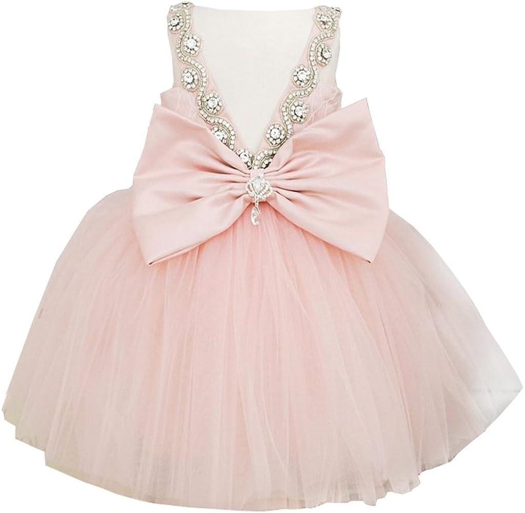 Miama Pink Lace Tulle Wedding Flower Girl Dress Junior Bridesmaid Dress
