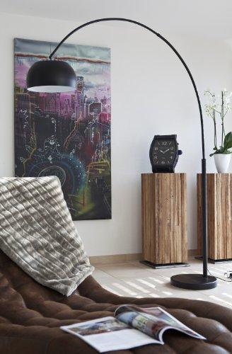 SalesFever Steh-Lampe schwarz lackiert mit Dimmer und Fuß aus Marmor 205x170 cm | Big Mess | Steh-Leuchte groß mit kugelförmigen Lampenschirm | Bogen-Lampe für Wohnzimmer 205cm x 170cm