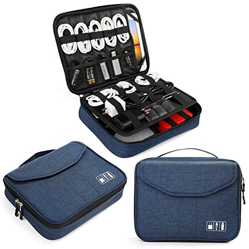 Electronics Bag, Jelly Comb Electronic Accessories Travel Cable Organizer Waterproof Cord Storage Bag for Cables, iPad (Up to 11''),Power Bank, USB Flash Drive and More-(Black and Blue)