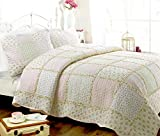 Cozy Line Home Fashions Sweet Peach Floral Light Pink Printed 3D Real Patchwork 100% Cotton Quilt Bedding Set, Reversible Coverlet Bedspread for Her Girl Women (Peach, Full/Queen - 3 Piece)