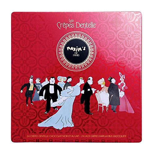 Maxim's de Paris | 24 Crèpes Dentelle au Chocolat | Assortiement de 12 Crepes Dentelles au Chocolat au Lait -12 Crepes Dentelles au Chocolat Noir