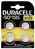 Duracell - Pilas especiales de botón de litio 2025 de 3V, paquete de 4 unidades (DL2025/CR2025) diseñada para uso en llaves con sensor magnético, básculas, elementos vestibles y dispositivos médicos