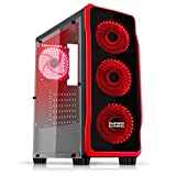 EMPIRE GAMING - Boitier PC Gamer DarkRaw Noir - 4 Ventilateurs LED Rouge 120 mm - Paroi 100% Transparente - Compatible ATX/mATX/mITX