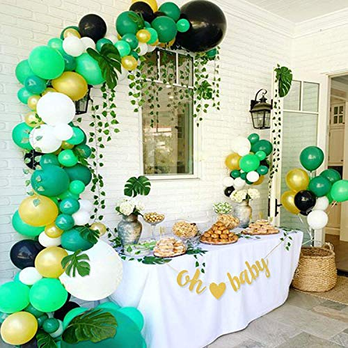 JIASU 119 Pack Jungle Safari Baby Shower Balloon Decorations - Greenery Balloon Garland Arch Kit, Ivy Vines, Banner Sign, Gender Neutral Birthday Party Supplies for Boy or Girl
