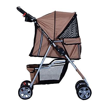 PawHut Pet Stroller Cat Dog Basket Zipper Entry Fold Cup Holder Carrier Cart Wheels Travel Brown 2