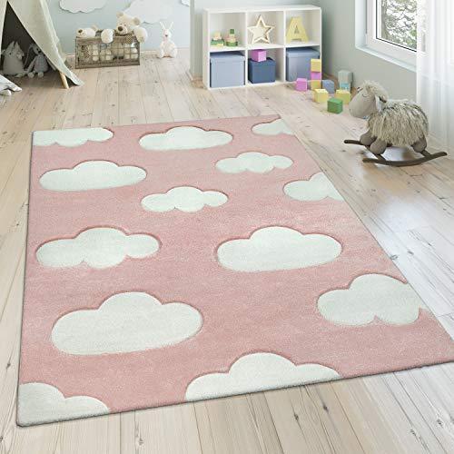 Paco Home Kinderteppich, Moderner Kinderzimmer Pastell Teppich, Wolken Design, Grösse:140x200 cm, Farbe:Pink