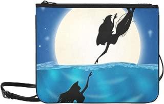 Mermaid Princess Mirror Blue Sea Moon Pattern Custom High-grade Nylon Slim Clutch Bag Cross-body Bag Shoulder Bag
