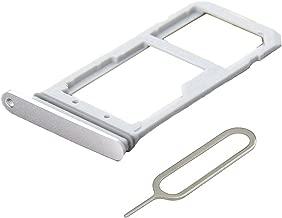 MMOBIEL SIM/SD Card Tray Compatible with Samsung Galaxy S7 G935 Edge 5.5 Inch (White/Silver) incl Sim pin