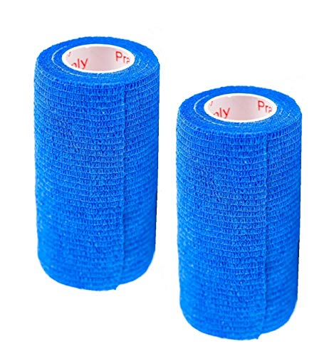 Vet Wrap Rap Tape (Blue) (2 Pack) (4 Inch x 15 feet) Self Adhesive Adherent Adhering Cohesive Flex Self Stick Bandage Grip Roll Dog Cat Pet Horse