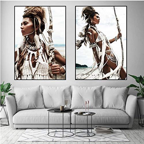 zsBig6 Moderne leinwand Bilder Boho deko wandbilder Ethno Stil Afrika Frauenportrait Indianer Feder Bilder Wohnzimmer Schlafzimmer wandbild deko 50x70 cm x 2 ungerahmt
