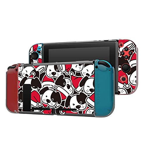 Dockable Case Compatible with Nintendo Switch Console and Joy-Con Controller, Patterned ( Santa Claus hat french bulldog puppy head bone scarf doodle ) Protective Case Cover with Tempered Glass Screen