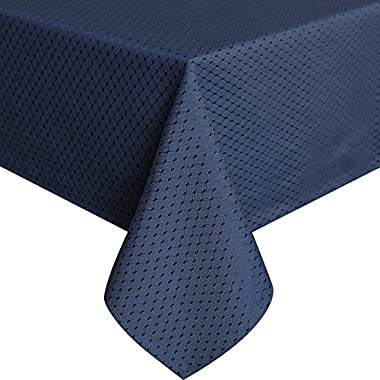 UFRIDAY Royal Blue Tablecloth 60-Inch by 84-Inch, Decorative Waffle Checkered Table Cover for Rectangle Dining Room Tables