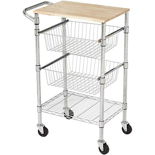 Amazon Basics 3-Tier Metal Basket Rolling Cart with Wood Top