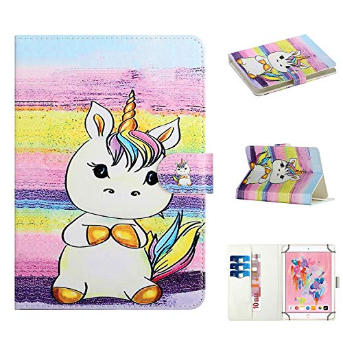 Universal Case for 10 Inch Tablet, UGOcase PU Leather Folio Flip Stand Lightweight Slim Wallet Protective Case for 9.7 inch/10.1 inch/10.3 inch/10.4 inch/10.5 invh Touchscreen Tablet, Lovely Unicorn