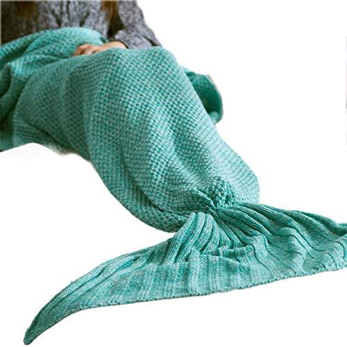 #N/V 5 colores de cola de sirena manta suave hecha a mano saco de dormir a la moda manta de punto de cola de pez colcha para dormir, verde 80 x 180