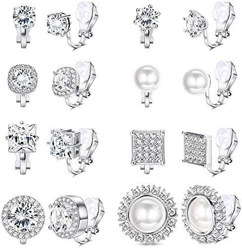 Milacolato 8 pares Falsos Pendientes de Clip para Mujer Niña Cristal Transparente, Perla de Agua Dulce, CZ, Halo,Cuadrado, Redondo, Sin Perforar Clip en Conjunto de Pendientes