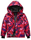 Wantdo Boy's Hooded Puffer Jacket Windproof Snow Jacket Outdoors Red 14/16