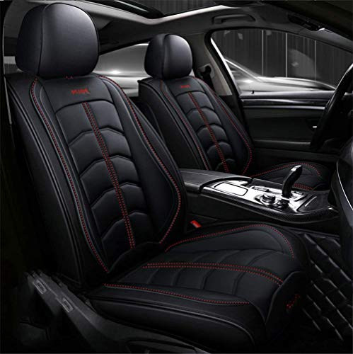 LINGJIE Car Seat Cover, Car Seat 3D Sports Style Easy To Clean PU Leather Adjustable Seat Cushion Full Set for 99% Five-Seat Car,Red
