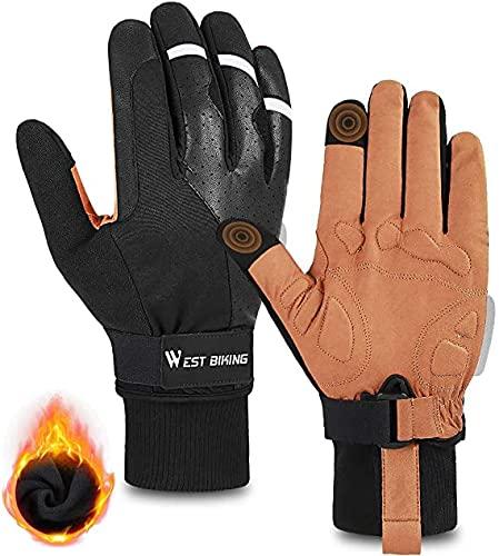 WESTGIRL Guanti da ciclismo – Antivento Caldi guanti invernali in pile termico, da corsa da uomo e da donna, antiscivolo, per ciclismo, motociclismo, escursionismo, alpinismo (XXL)