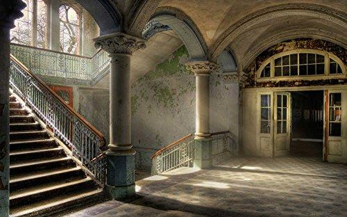 """awallo Fototapete Motiv\""""Vintage Treppe\"""" - Vliesfototapete mit Treppenhaus - 400 x 250 cm - braun beige grün - DD106849"""