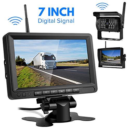 Telecamera Retromarcia Wireless per Auto con 7 Pollici Monitor LCD, Digitale Assistenza al Parcheggio, Impermeabile IP68 Senza Fili Telecamera di Backup Kit Visione Notturna per Camper
