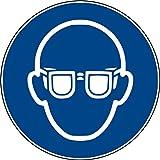 10 Aufkleber Augenschutz benutzen - Augenschutz Aufkleber Schutzbrille (10 Stück) vorgestanzt, selbstklebend, Gebotszeichen Warnzeichen Augenschutz benutzen M004 Schutzbrille Brille Arbeitsschutz