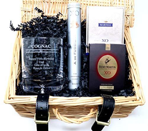 Personalised Hamper with Engraved *Cognac XO Design* Dimple Glass Tumbler & 3 Miniature Bottles of Cognac