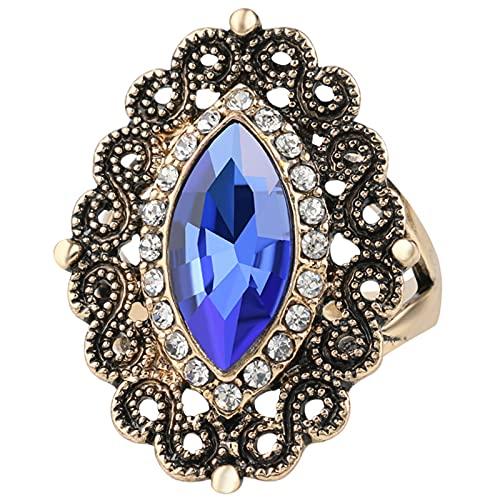 Ezzyso Anillo de Flores de Cristal, Estadounidense Personalidad de Piedra Natural de Alta Gama joyería de Anillo de aleación Femenina (2 Piezas),Azul,8