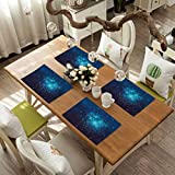 FloraGrantnan Washable Heat Resistant Table Mats Placemat, Astrology Fortune Telling Birth Chart Zodiac Signs in Space Geometrical Ima, Used in Homes, Restaurants, Hotels, Set of 6